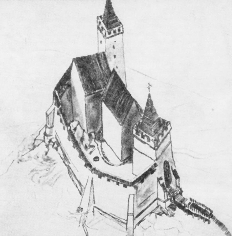 Zamek Grodno XIV-XV wiek - Wizualizacja: J. Rozpędowski Źródło: dolny-slask.org.pl