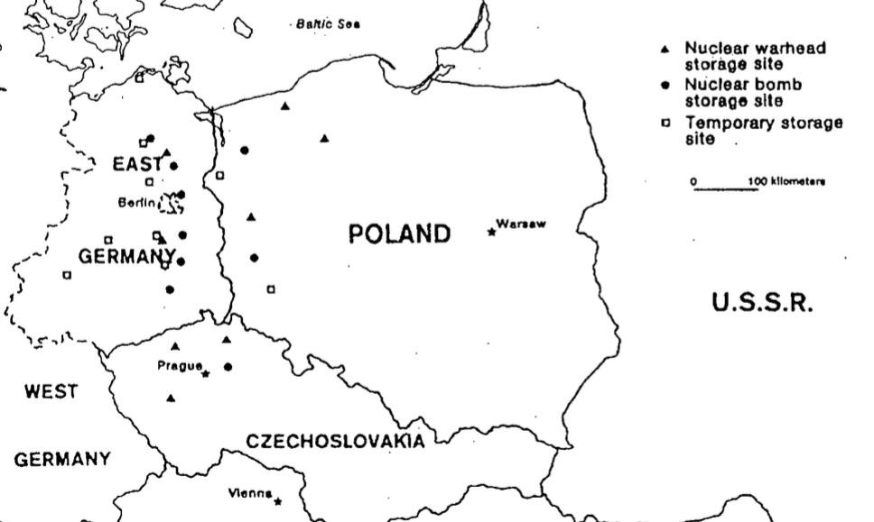 Mapa radzieckich składów z bronią jądrową w Europie Wschodniej - Fragment opracowania CIA z 31.01.1979 r. str. 46