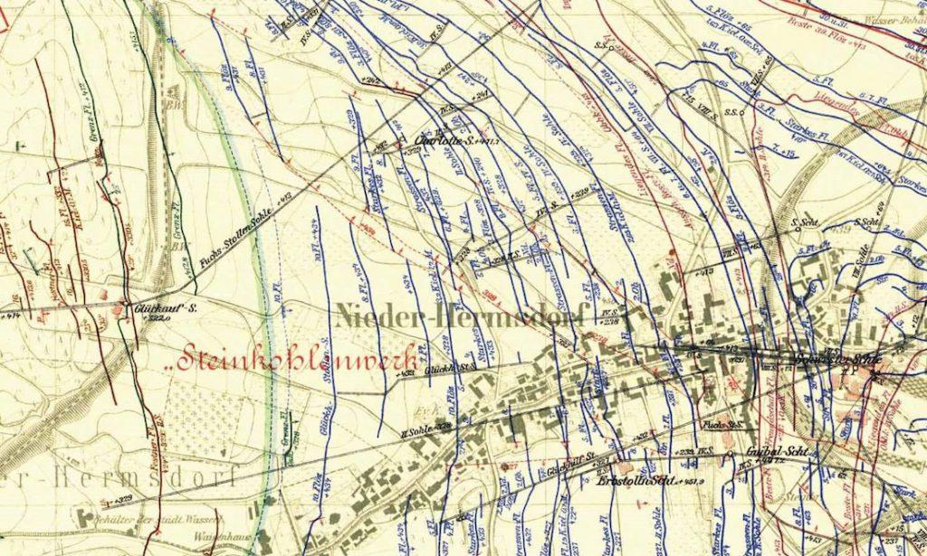 Mapa górnicza dzielnicy Sobięcin - Wałbrzyskie sztolnie odwadniające