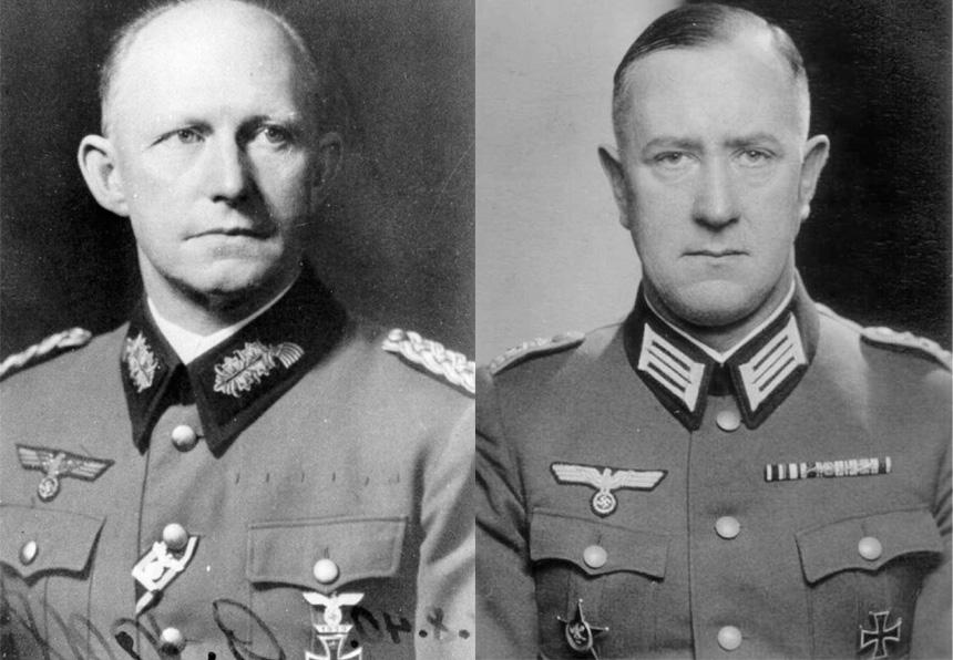 Gen. Alfred Jodl (po lewej) i płk Gustaw Streve (po prawej) - Źródło: Bundesarchiv