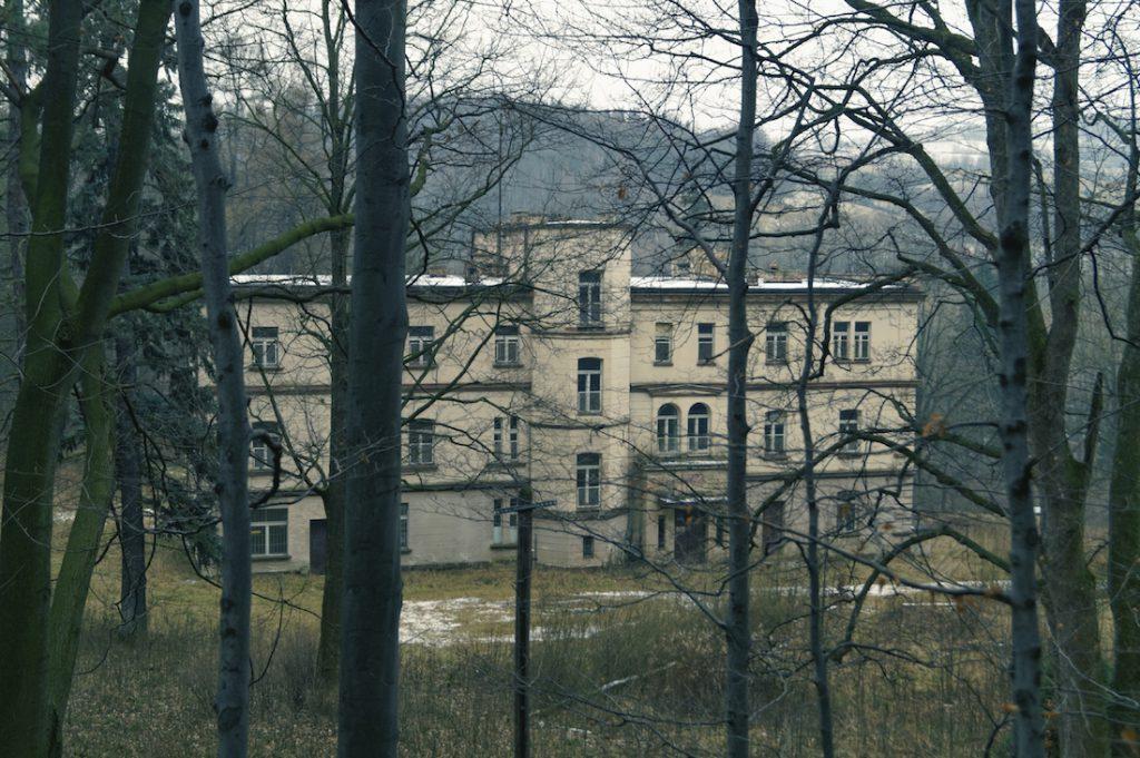 Pałac w Zagórzu Śląskim (niem. Schloss Kynau) widziany z drogi na Zamek Grodno