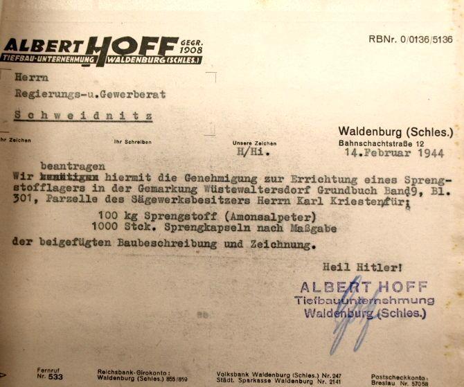 Pismo firmy Albert Hoff w sprawie budowy magazynu na materiały wybuchowe w Walimiu - Źródło: Archiwum Państwowe we Wrocławiu - Zbiory: Romuald Owczarek