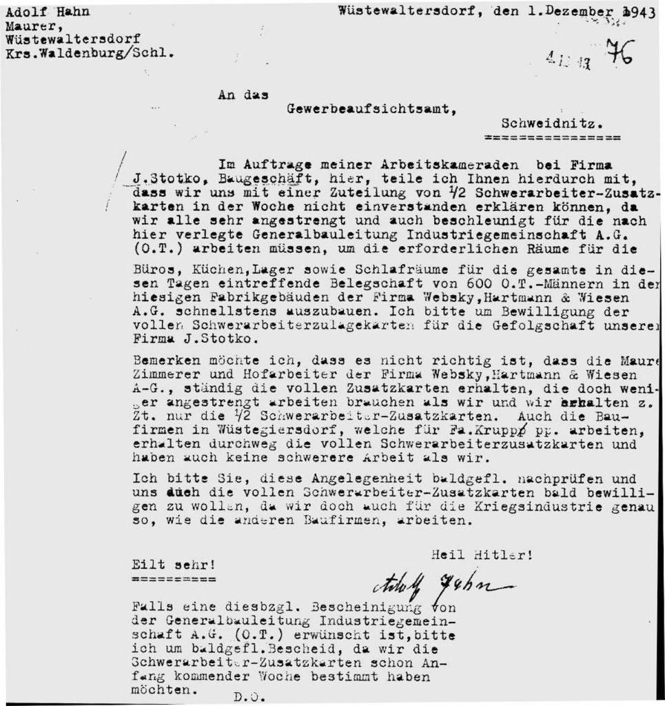 Początek Riese, pismo firmy J. Stotko w sprawie przydziału kartek żywnościowych dla murarzy - Źródło: Archiwum Państwowe we Wrocławiu - Zbiory: Romuald Owczarek