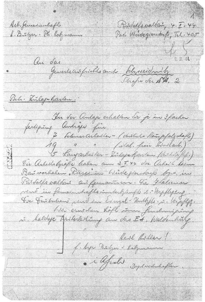 """Pismo firm Heinrich Butzer i Philipp Holzmann, w którym pojawia się kryptonim """"Riese"""" - Źródło: Archiwum Państwowe we Wrocławiu - Zbiory: Romuald Owczarek"""