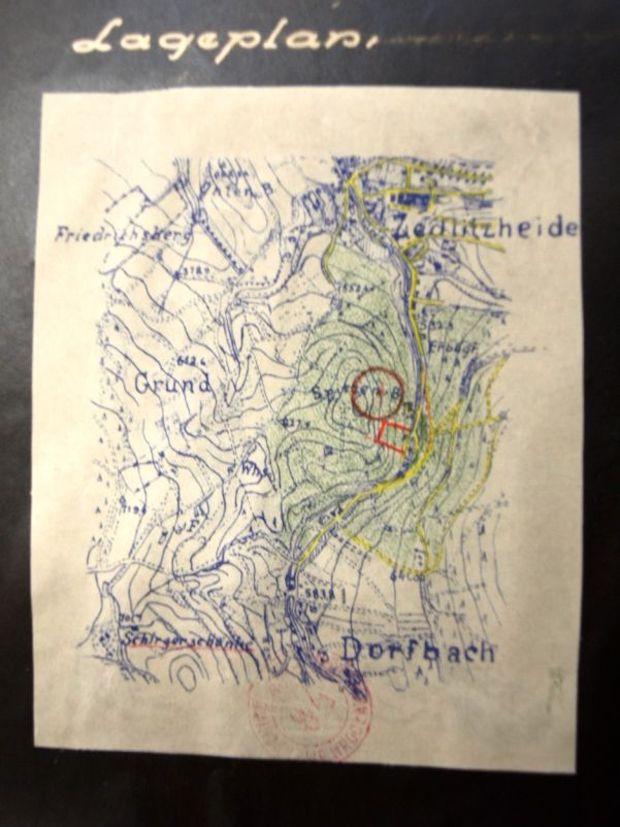 Mapa z lokalizacją magazynu, przy okazji zaznaczonym kompleksem Rzeczka - Źródło: Archiwum Państwowe we Wrocławiu - Zbiory: Romuald Owczarek