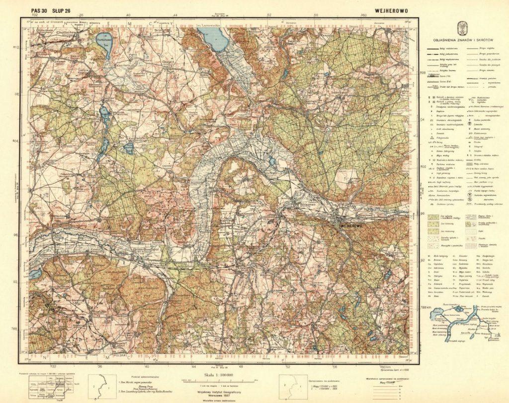 Przykładowa mapa okolic Wejherowa - Źródło: Jagiellońska Biblioteka Cyfrowa