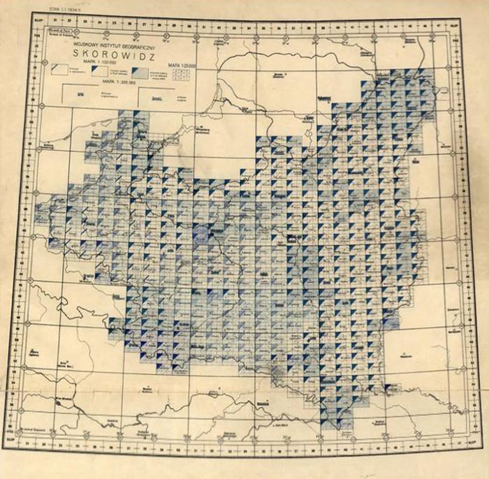 Skorowidz wojskowych map topograficznych - Źródło: Jagiellońska Biblioteka Cyfrowa