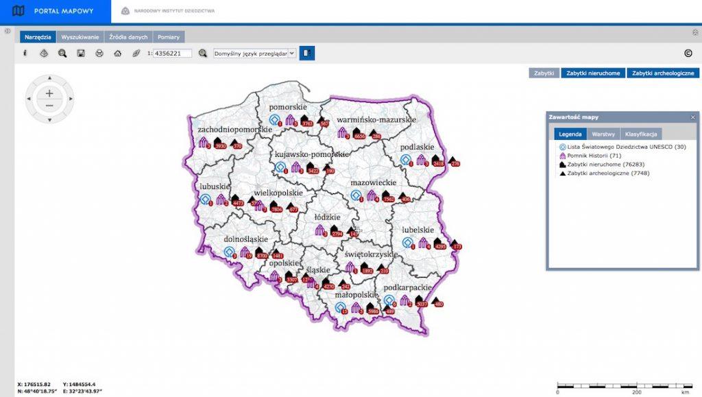 Interaktywna mapa zabytków w Polsce - Narodowy Instytut Dziedzictwa