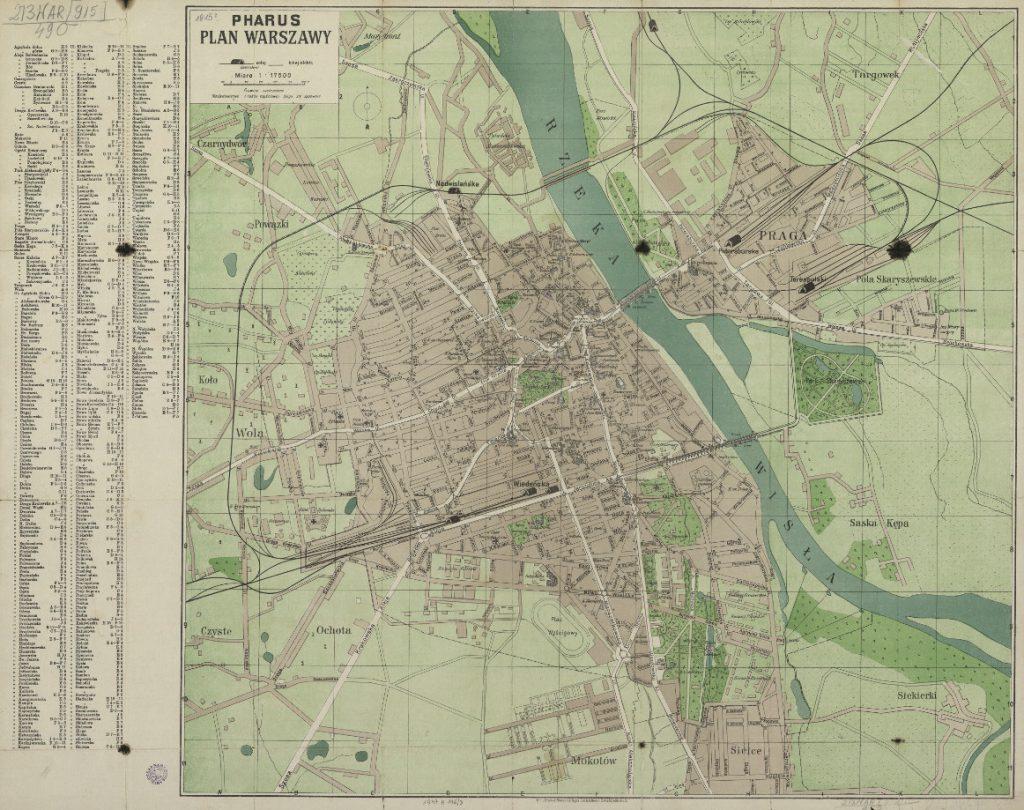 Archiwalna mapa Warszawy z lat 1914-1918 - Plan Warszawy z czasów I wojny światowej