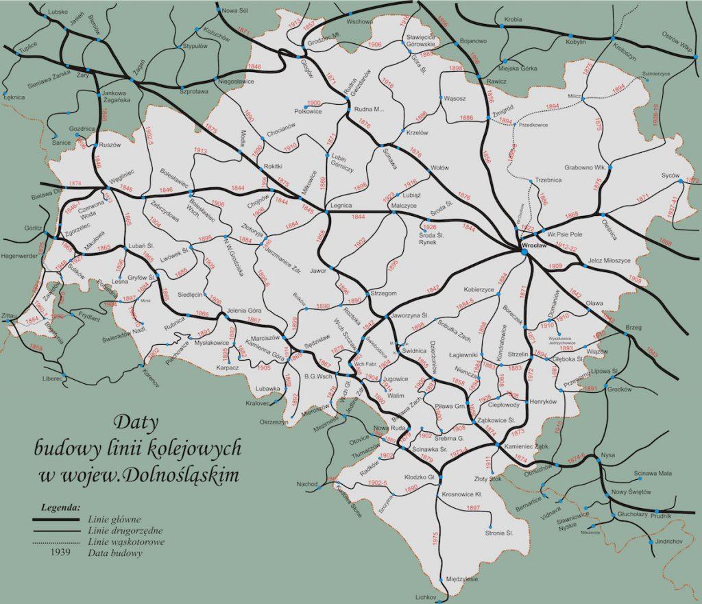 Mapa linii kolejowych na Dolnym Śląsku - Daty budowy