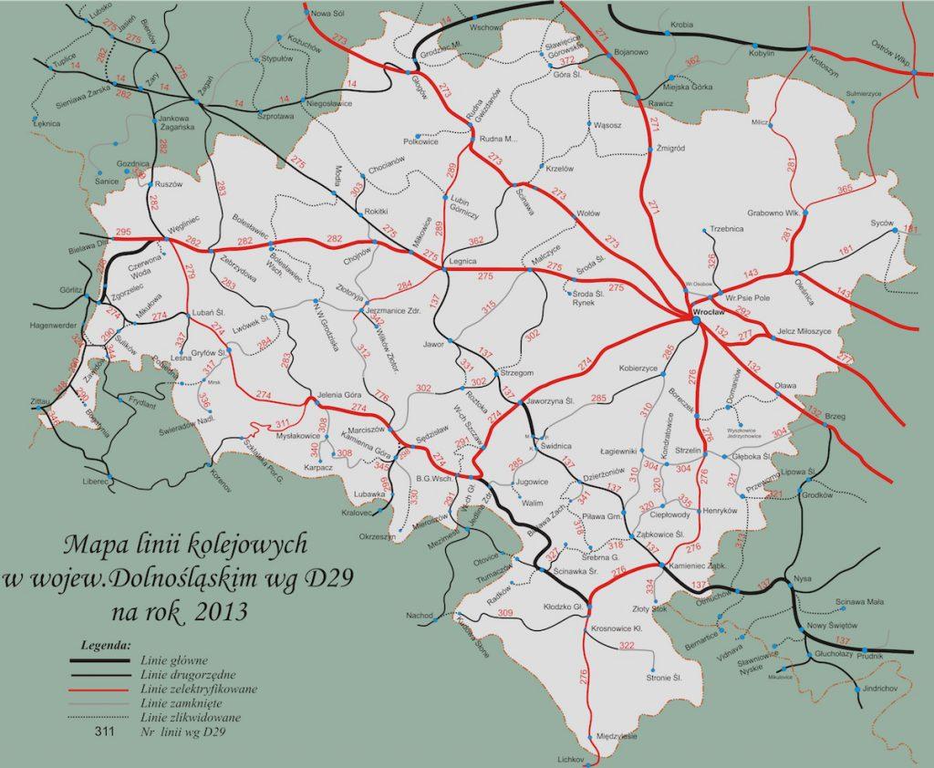 Stan sieci kolejowej na Dolnym Śląsku na rok 2013 - Zamknięte i zlikwidowane odcinki