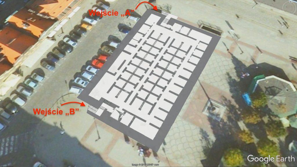 """Położenie i plan schronu pod placem Solnym, obecnie dostępne jest tylko wejście """"A"""""""