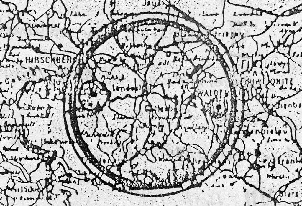 Mapa Rüdigera, w małych okręgach występują tunele kolejowe - Zbiory: Wydawnictwo Technol