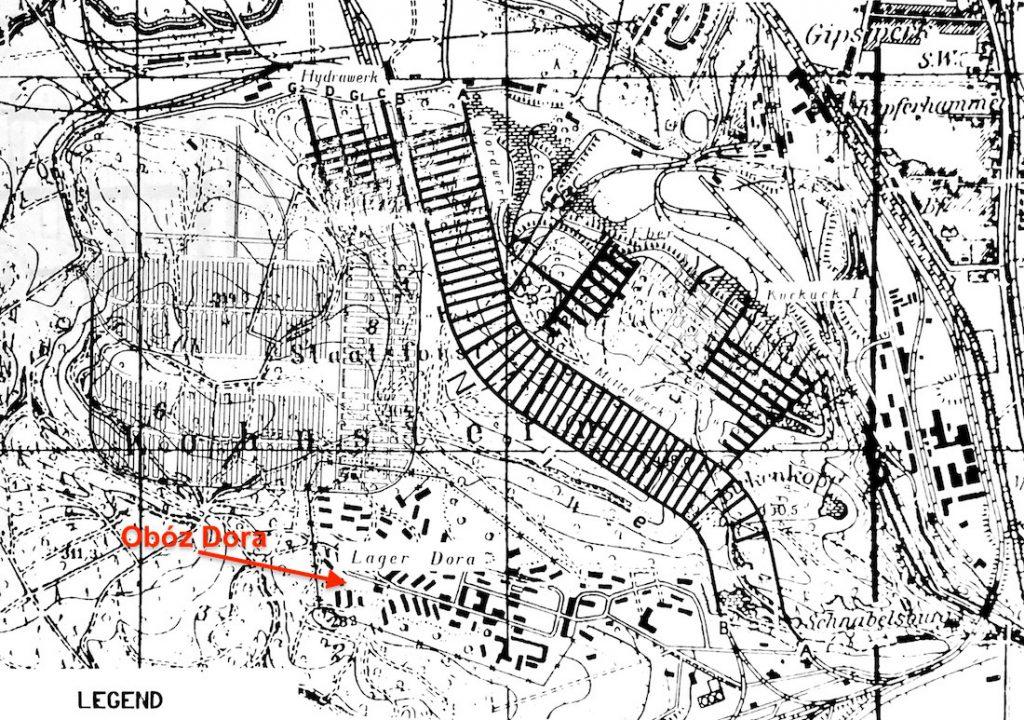Obóz Dora i zarysowane schematy podziemi (na czarno - już istniejące, na biało - w planie) - Źródło: Hans W. Wichert, Decknamenverzeichnis deutscher unterirdischer Bauten