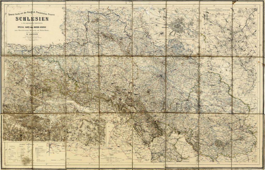 Pruska mapa prowincji Śląsk z 1865 roku - Źródło: dolny-slask.org.pl / Zielonogórska Biblioteka Cyfrowa