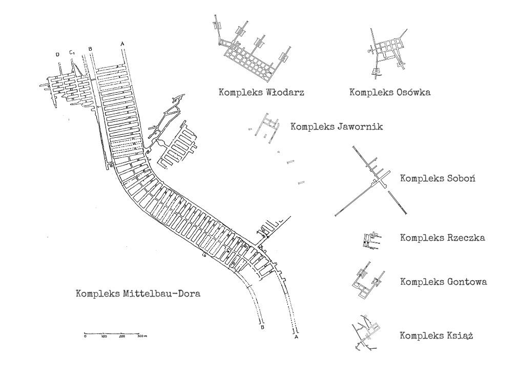 Porównanie wielkości podziemi kompleksu Mittelwerk (Mittelbau-Dora) ze wszystkimi podziemiami kompleksu Riese na Dolnym Śląsku