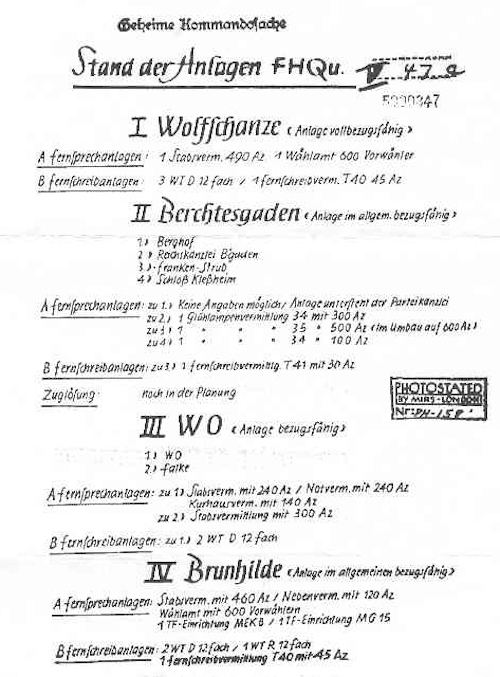 Stan infrastruktury łączności kwater Hitlera (Stand der Anlagen Führerhauptquartier) - Zbiory: Wydawnictwo Technol Archiwum: BA-MA, WF 01/10158