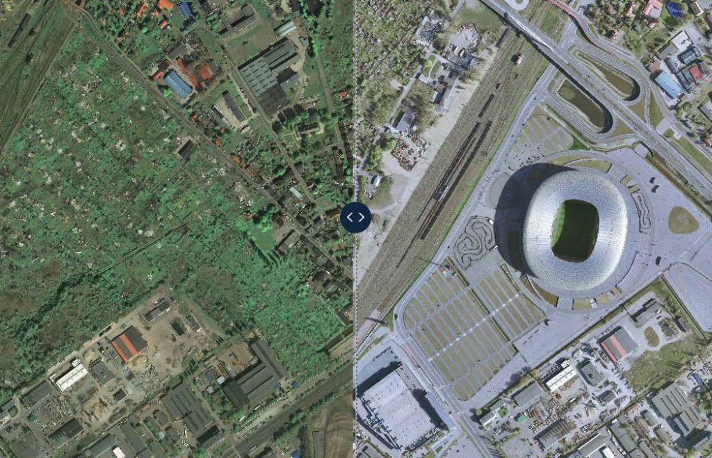 Stadion Energa Gdańsk wczoraj i dziś - Porównanie 2008 i 2016 rok