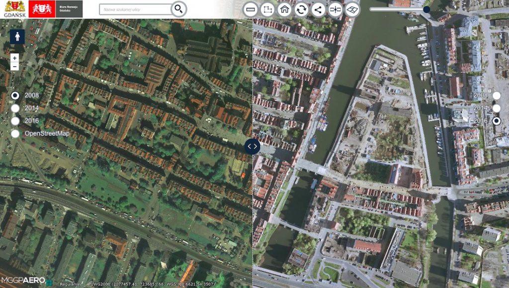 Porównanie zdjęć lotniczych (ortofotomapy) Gdańska z ostatnich lat - Źródło: gdansk.retromapy.pl