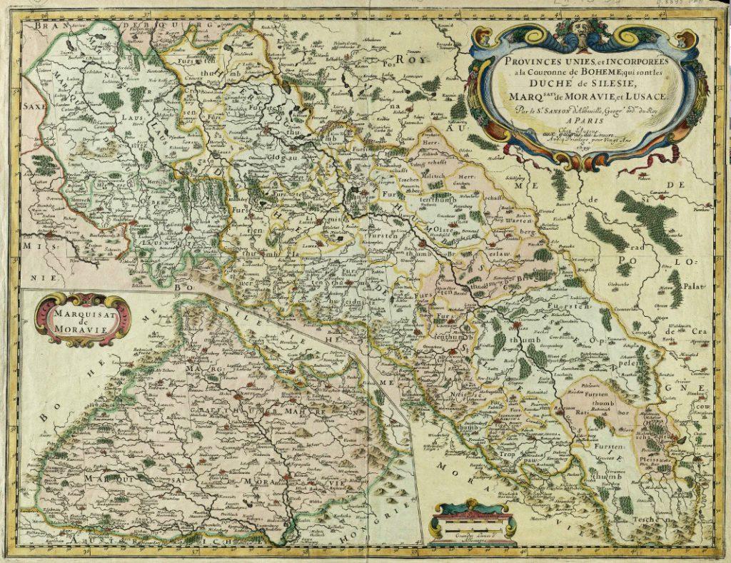 Kolorowa mapa Śląska z 1679 roku - Źródło: Repozytorium Cyfrowe Instytutów Naukowych