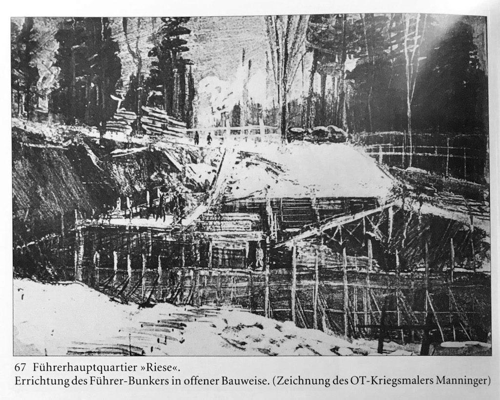 """Szkic Manningera, """"Siłownia"""" na początkowym etapie budowy - """"Die Führerhauptquartiere"""" Franz W. Seidler, Dieter Zeigert"""