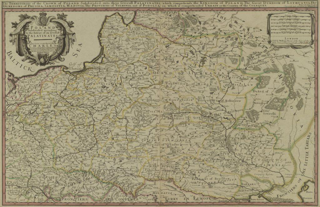 Angielska stara mapa Polski z 1683 roku - Autor: William Berry / Nicolas Sanson