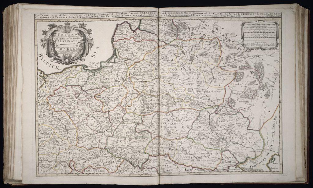 Mapa Polski z 1683 roku w innej wersji kolorystycznej - Autor: William Berry / Nicolas Sanson Źródło: Uniwersytet Yale