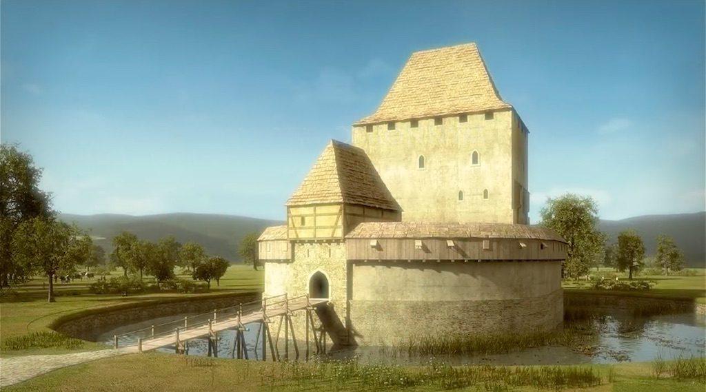 Wieża w Siedlęcinie około 1400 roku - Wizualizacja: Śląskie Studio Architektury