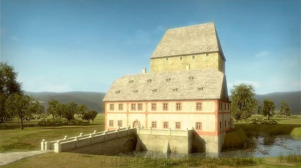 Wieża w Siedlęcinie po wzniesieniu obecnego dworu około 1770 roku - Wizualizacja: Śląskie Studio Architektury