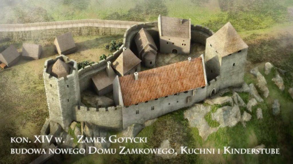 Zamek gotycki, wizualizacja Zamku we Wleniu koniec XIV wieku - Wizualizacja: Śląskie Studio Architektury