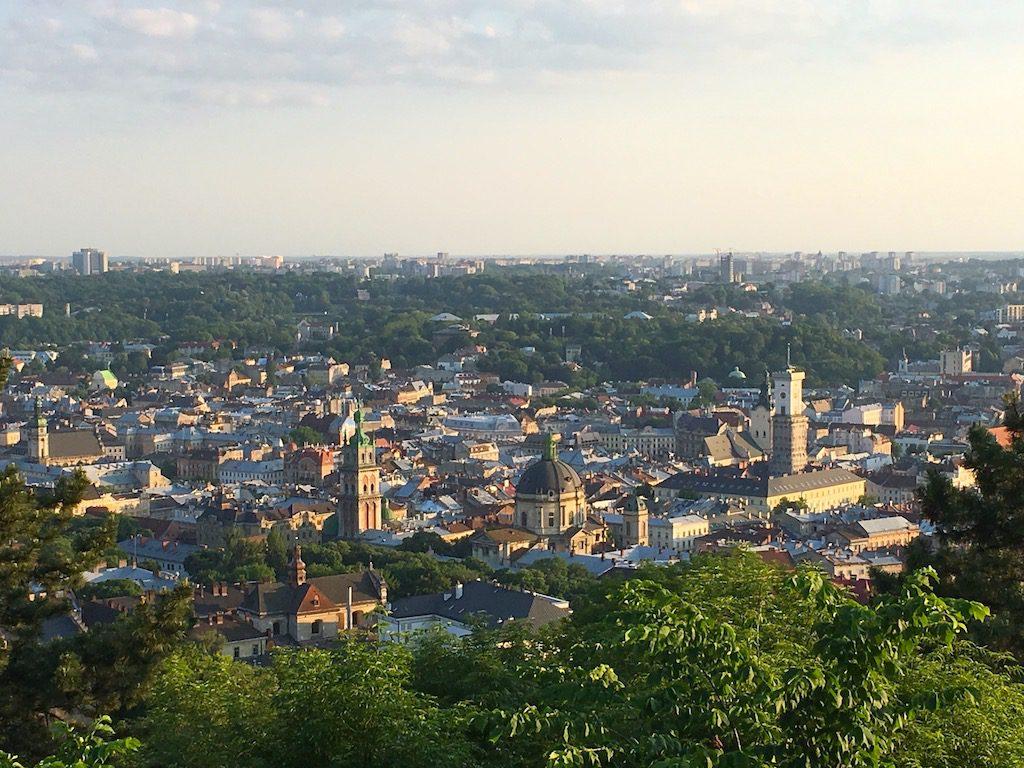 Panorama Lwowa z Wysokiego Zamku (użyty cyfrowy zoom)