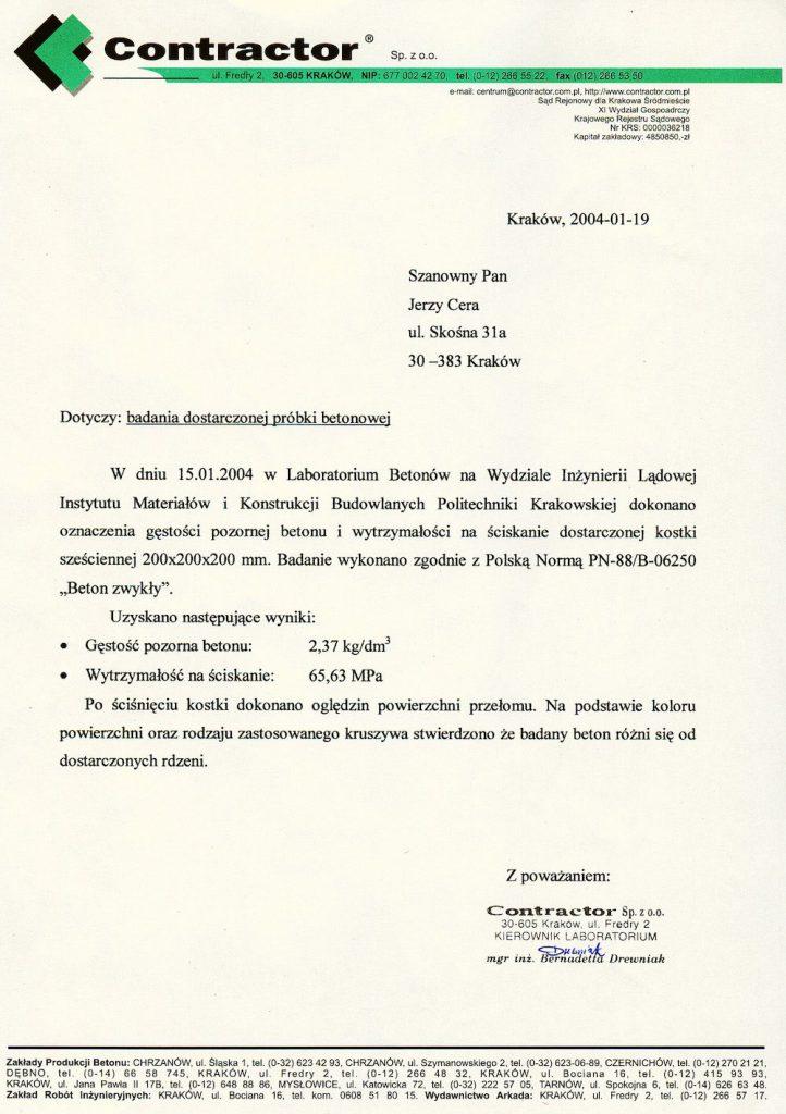 Wynik badania dostarczonych próbek betonu - Zbiory: Jerzy Cera