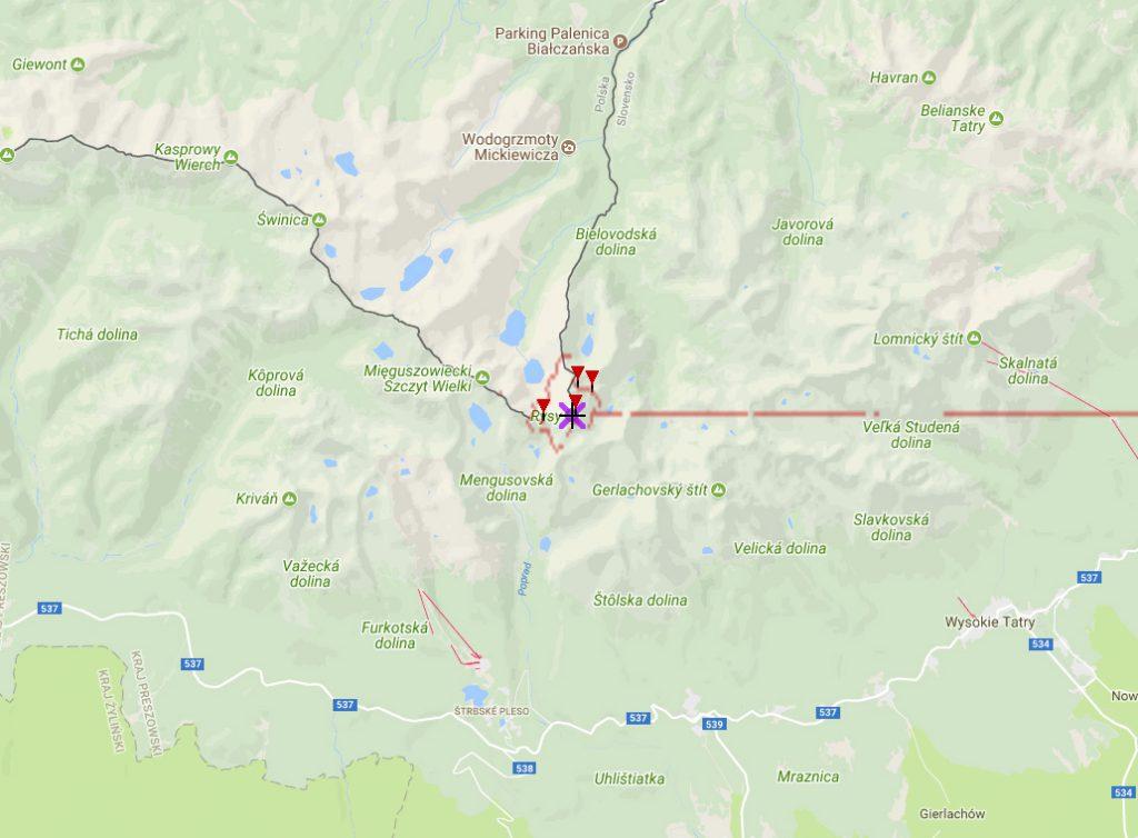 Skąd można zobaczyć Rysy - Źródło: heywhatsthat.com
