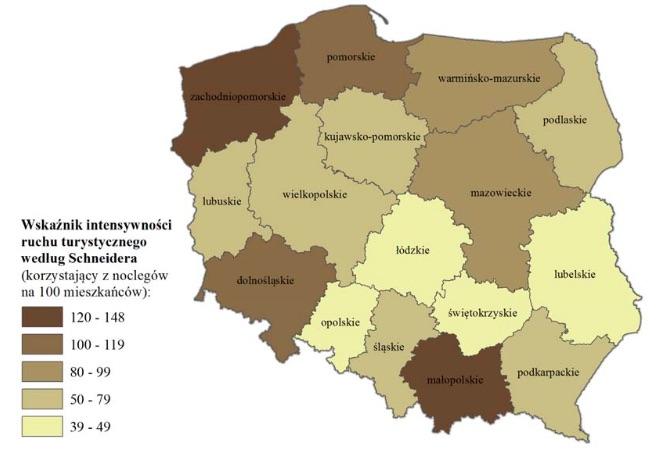 Turystyka w Polsce - Wskaźnik intensywności ruchu turystycznego według Schneidera według województw w 2016 r. - Źródło: GUS