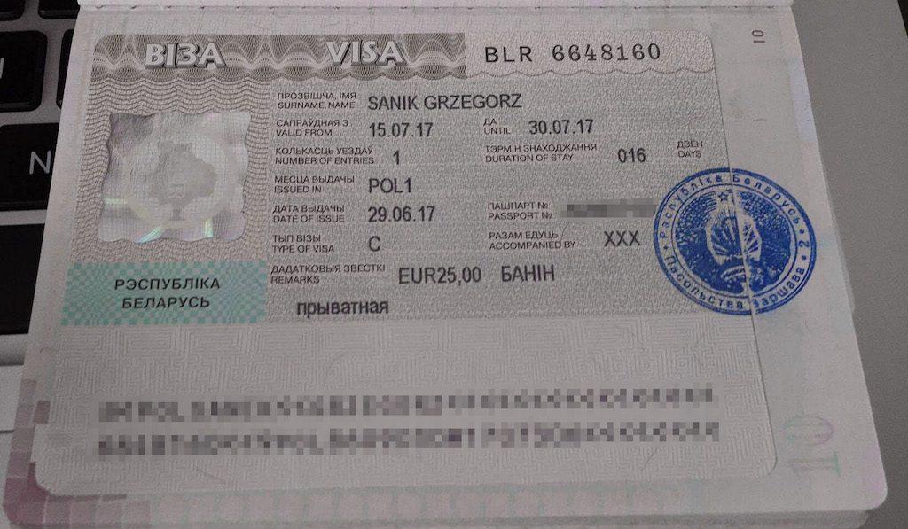 Moja białoruska wiza