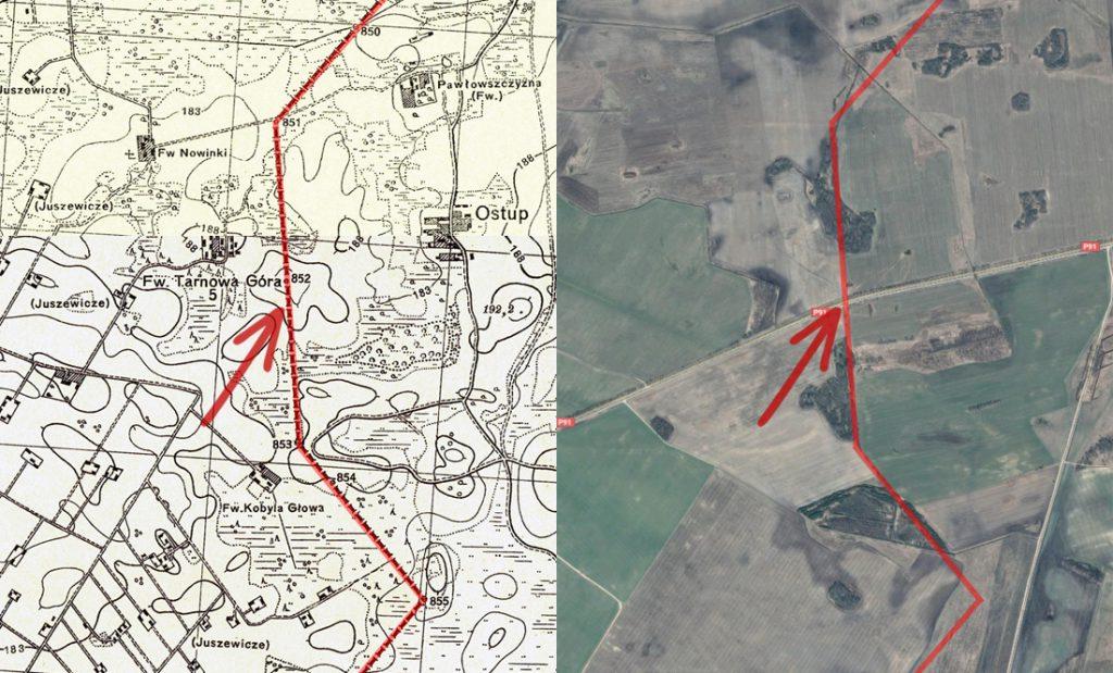 Porównanie starej mapy i współczesnego zdjęcia satelitarnego - Zatrzymaliśmy się dokładnie w miejscu wskazanym przez czerwoną strzałkę