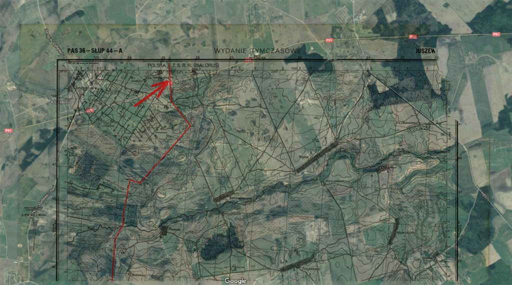 Arkusz starej mapy naniesiony na współczesne zdjęcie satelitarne - Czerwona strzałka wskazuje miejsce naszego zatrzymania, czerwona linia przedwojenną granicę
