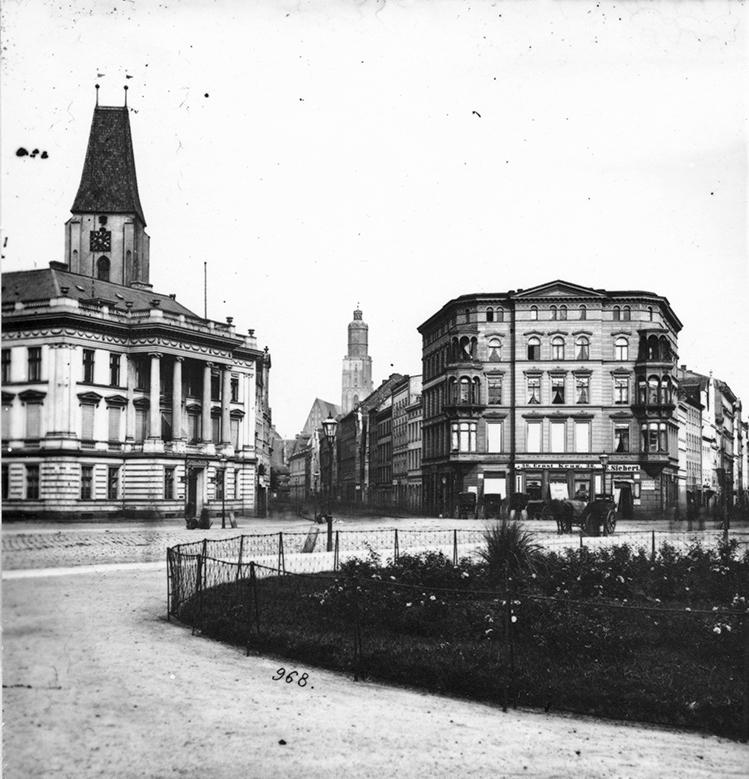 Plac Jana Pawła II, w tle wieża kościoła św. Elżbiety - Hermann Krone, po 1863 roku