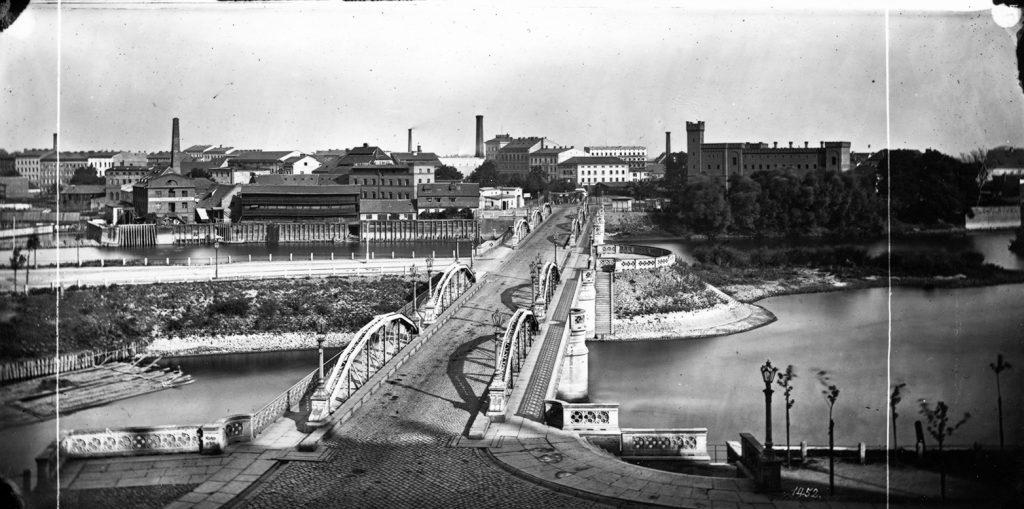 Most Uniwersytecki (stary), widok w kierunku Nadodrza - Hermann Krone, po 1863 roku