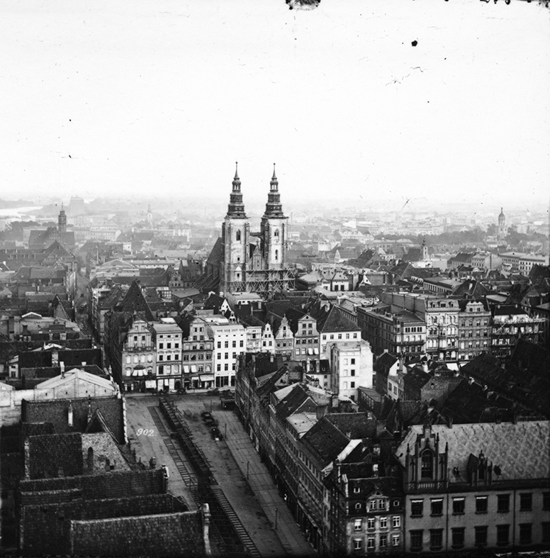 Panorama Rynku z wieży kościoła św. Elżbiety - Hermann Krone, po 1863 roku