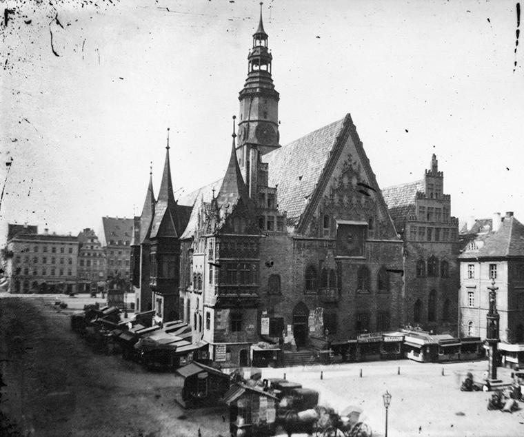 Rynek i Stary Ratusz we Wrocławiu - Hermann Krone, po 1863 roku