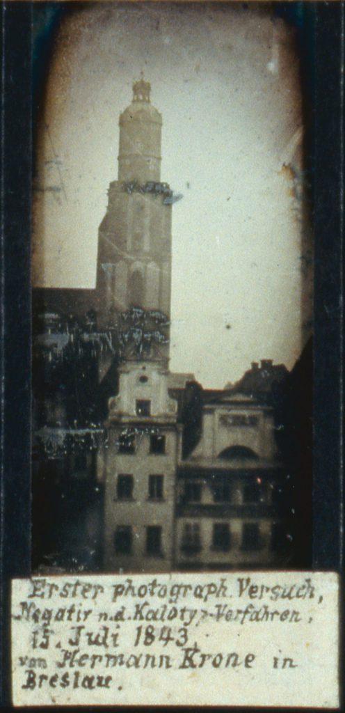 Jedno z najstarszych zdjęć, być może najstarsze zdjęcie Wrocławia, dagerotyp - Wieża kościoła św. Elżbiety - Hermann Krone, 15 lipca 1843 rok