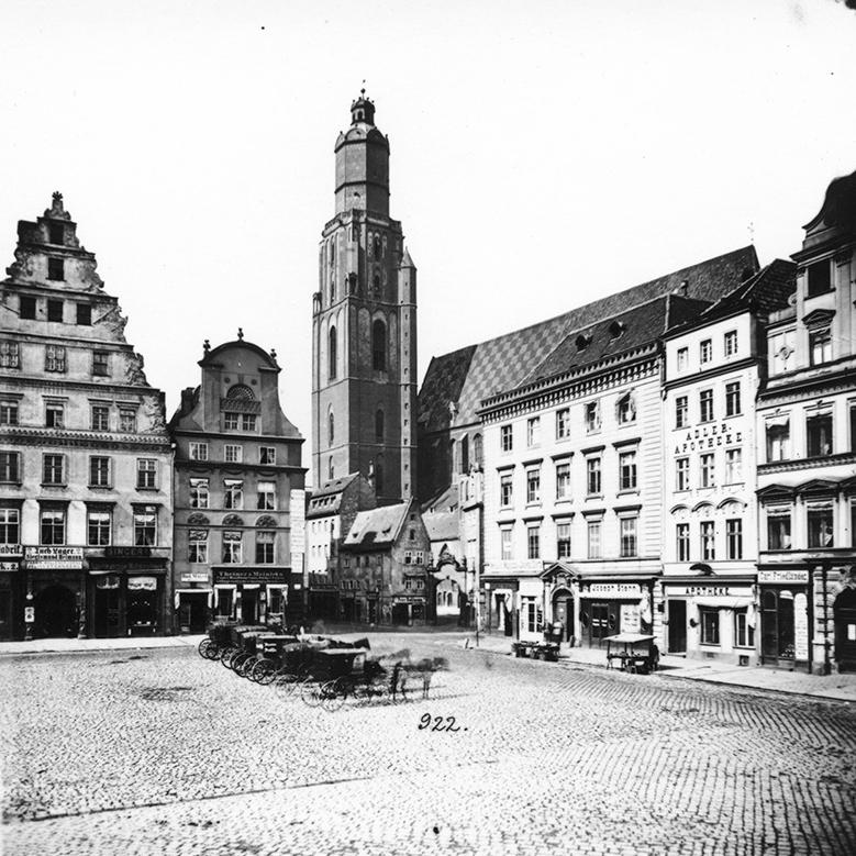 Rynek, w tle kościół św. Elżbiety - Hermann Krone, po 1863 roku