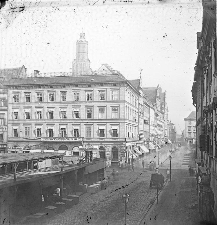 Plac Solny, w tyle Rynek i wieża kościoła św. Elżbiety - Hermann Krone, po 1863 roku