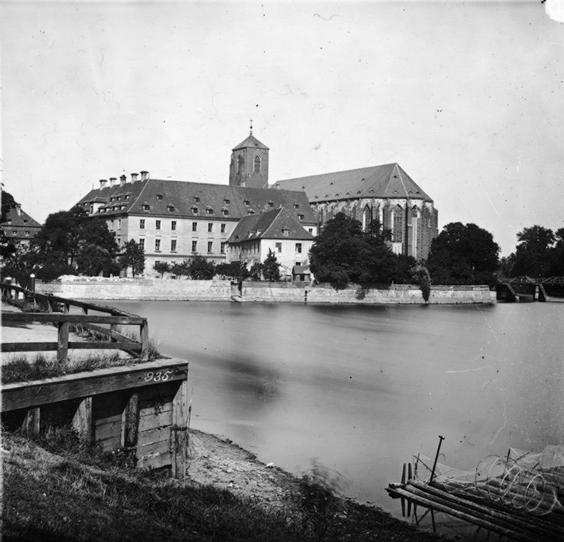 Wyspa Piasek, w tle Biblioteka Uniwersytecka i kościół Najświętszej Marii Panny - Hermann Krone, po 1863 roku