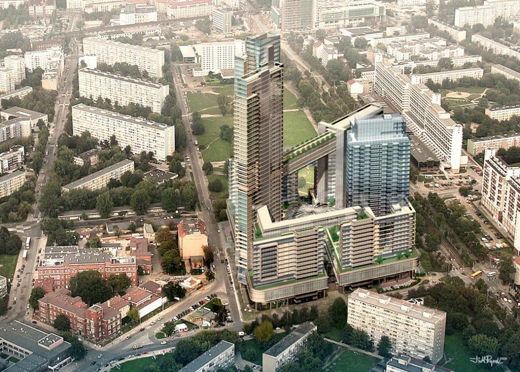 Wizualizacja pierwszej koncepcji Sky Towera we Wrocławiu