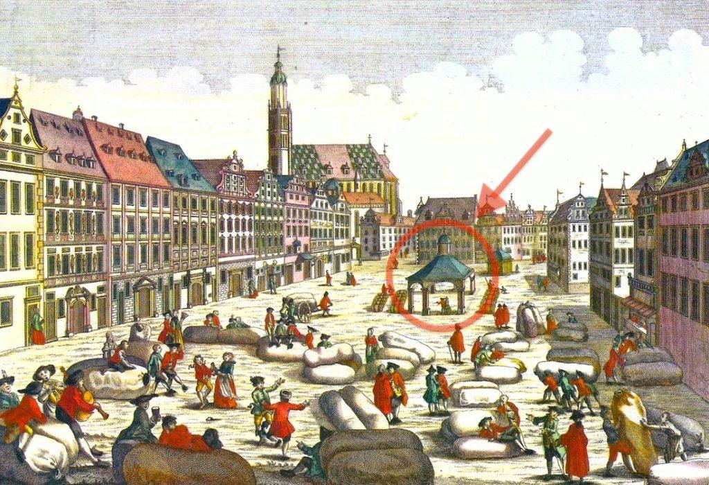 Zachodnia strona Rynku, po środku Wielka Waga Miejska w otoczeniu kupców handlujących wełną - Źródło: dolny-slask.org.pl