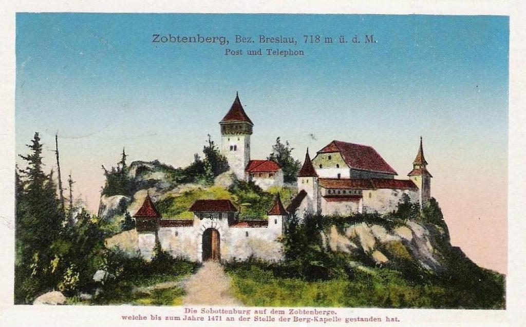Wyobrażenie wyglądu zamku na szczycie Ślęży - Źródło: dolny-slask.org.pl