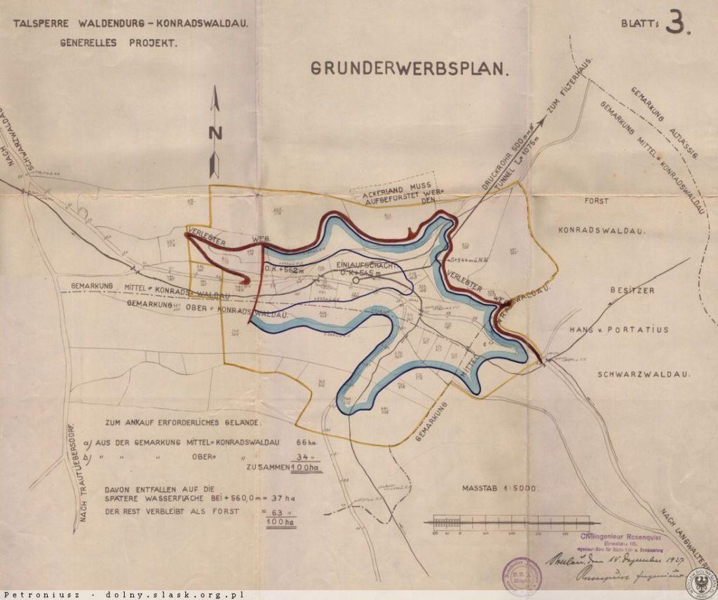Plany niezrealizowanej zapory i zbiornika Wałbrzych-Konradów (Waldenburg-Konradswaldau) - Źródło: dolny-slask.org.pl