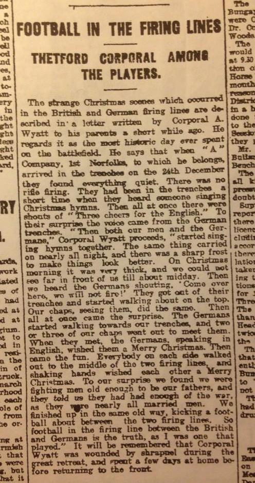 Artykuł o bożonarodzeniowym meczu pochodzący z nieznanej brytyjskiej gazety - Źródło: commons.wikimedia.org